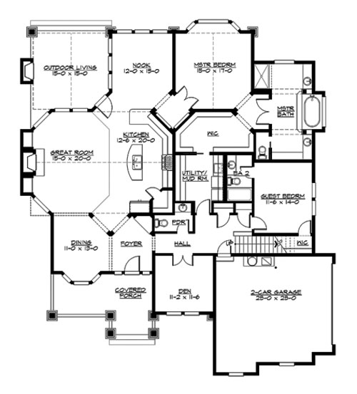Main Floor image of Featured House Plan: BHG - 3249