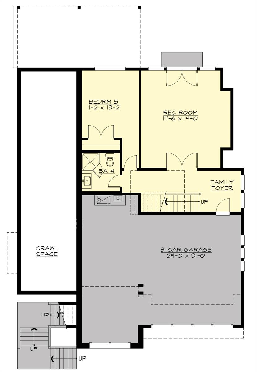 Lower Level Floor Plan image of Featured House Plan: BHG - 7464