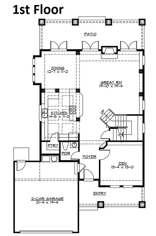 1st Floor Plan image of Featured House Plan: BHG - 5595