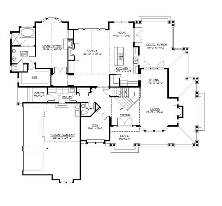 1st Floor Plan image of Featured House Plan: BHG - 2048