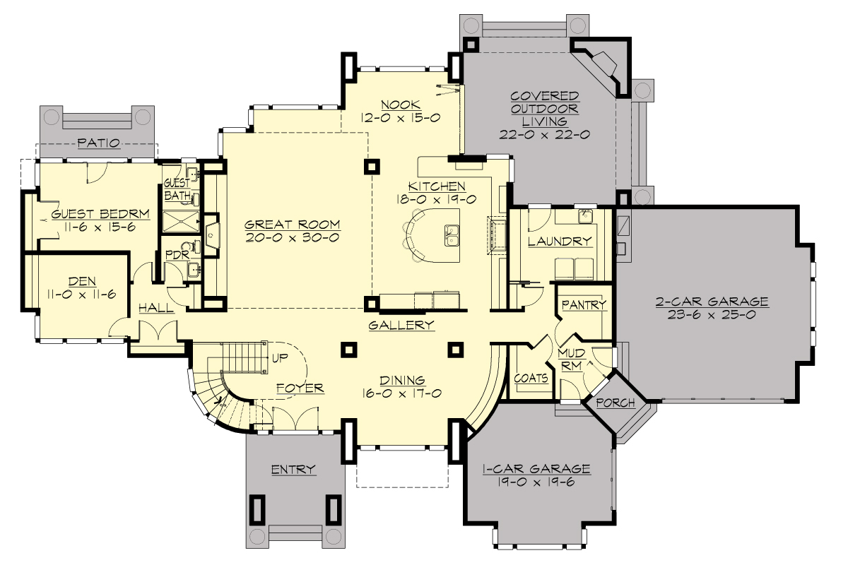 1st Floor Plan image of Featured House Plan: BHG - 9739