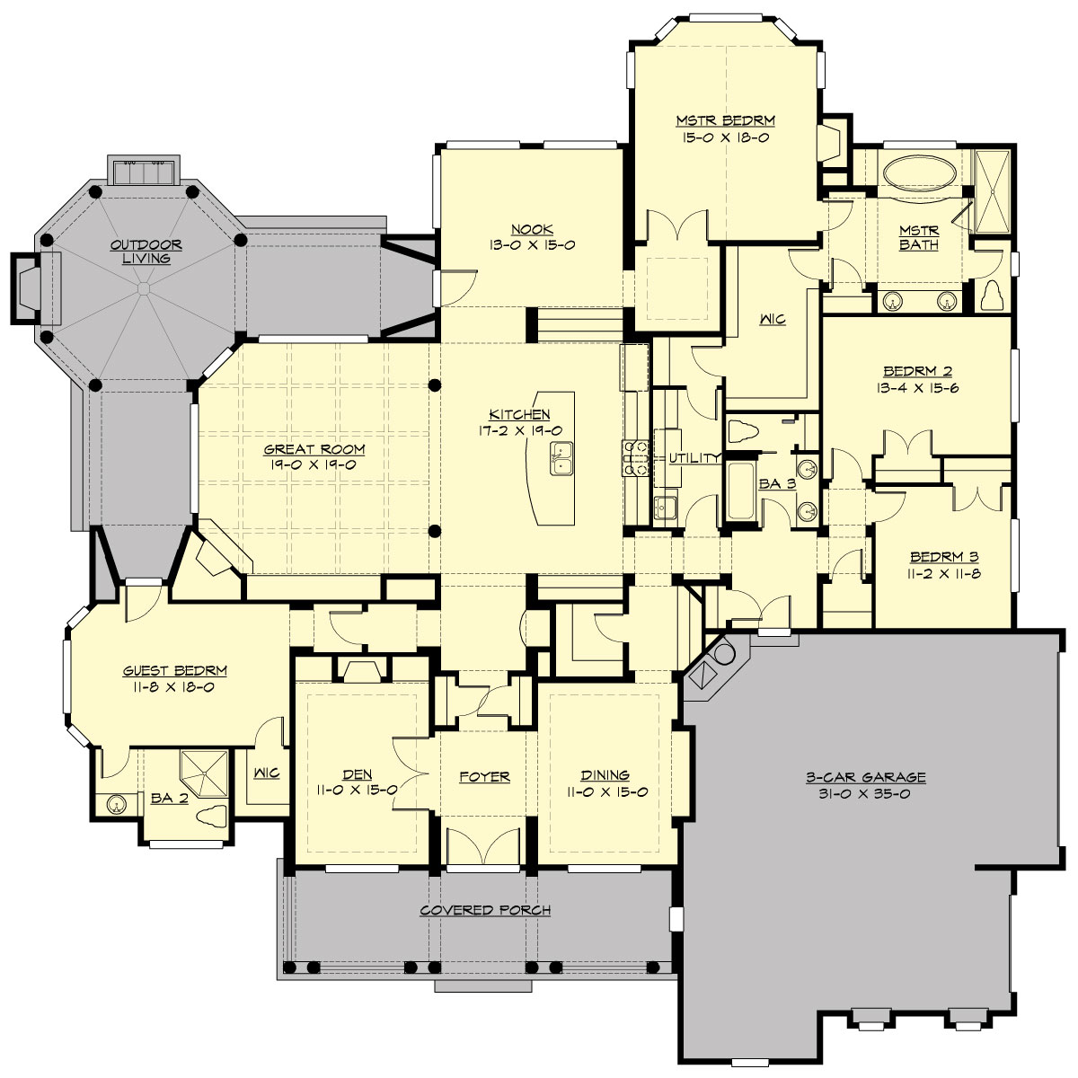 Main Floor image of Featured House Plan: BHG - 3251