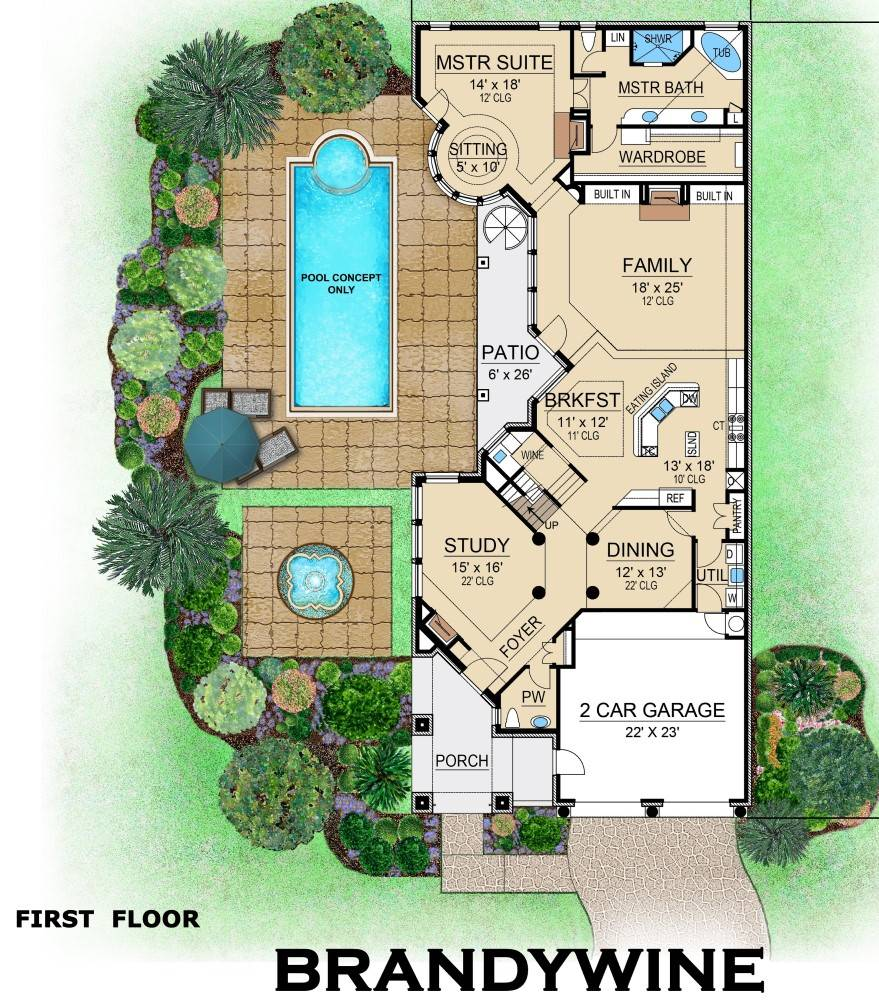 First Floor image of Featured House Plan: BHG - 6400
