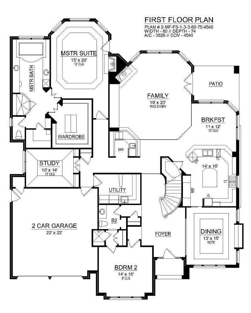 First Floor image of Featured House Plan: BHG - 6464