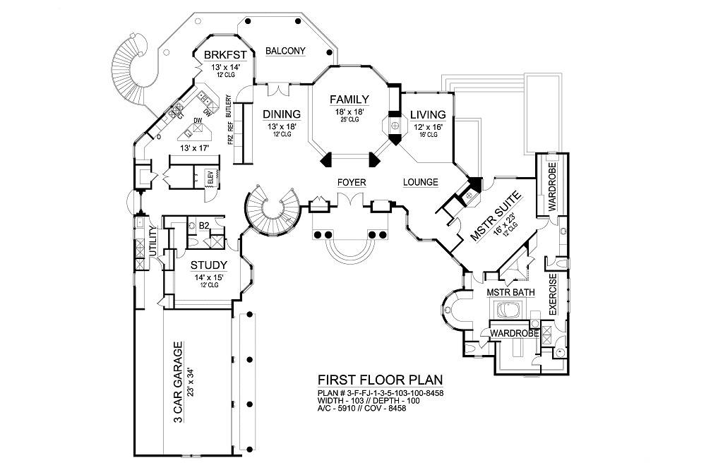 First Floor image of Featured House Plan: BHG - 6564