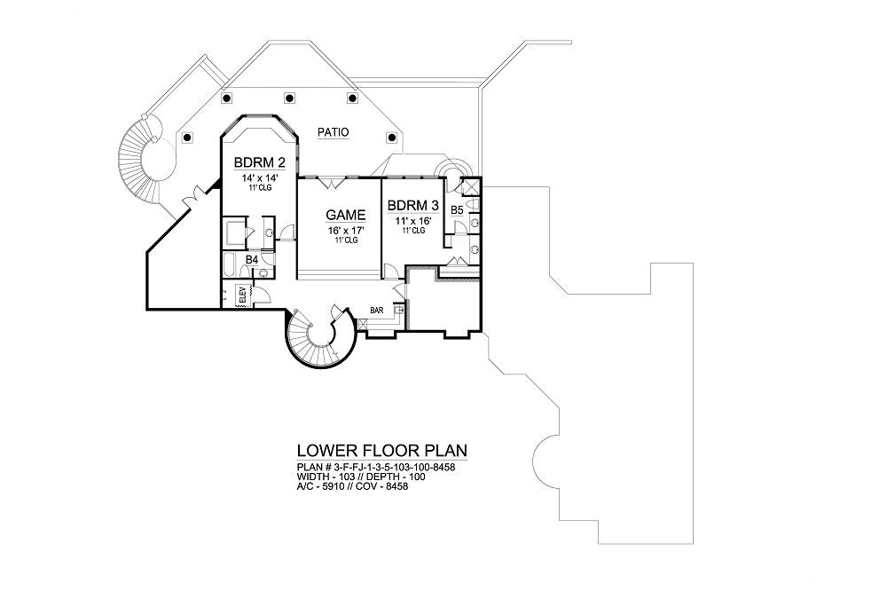 Lower Floor image of Featured House Plan: BHG - 6564