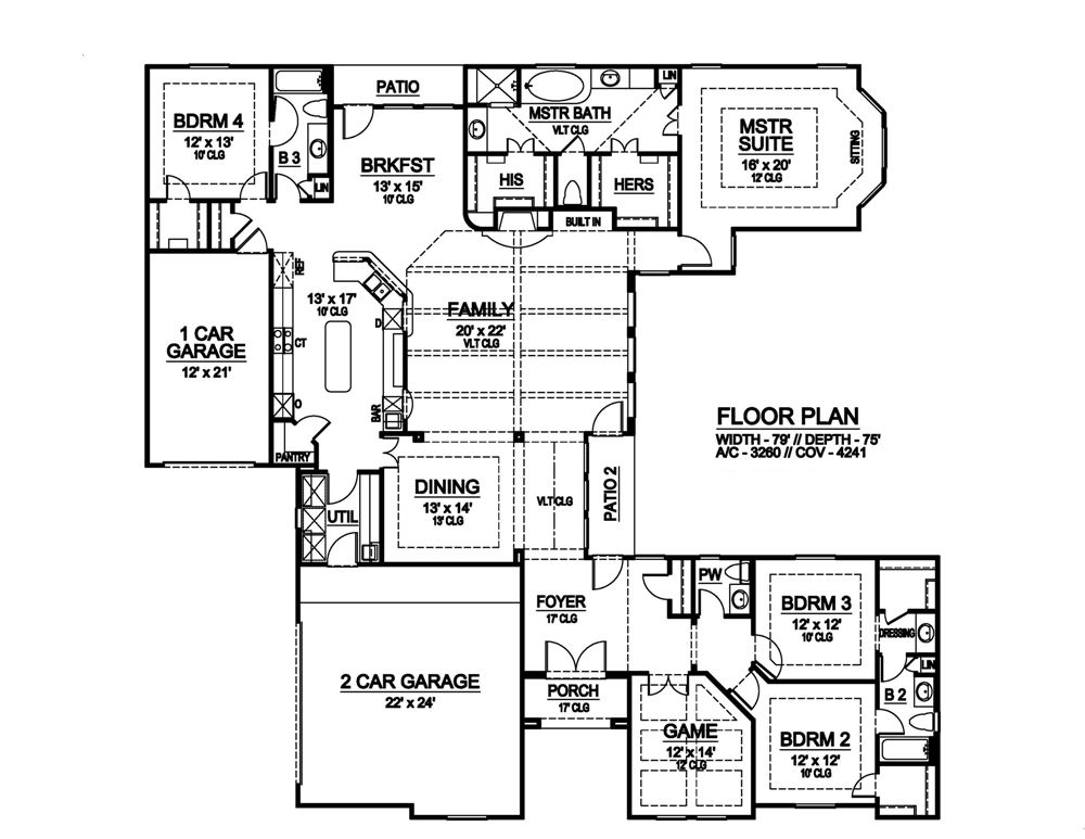 First Floor image of Featured House Plan: BHG - 6354