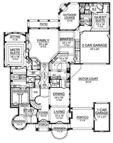 First Floor image of Featured House Plan: BHG - 4534