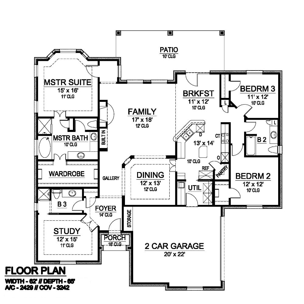 First Floor image of Featured House Plan: BHG - 6412