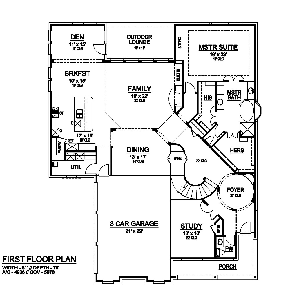 First Floor image of Featured House Plan: BHG - 6791
