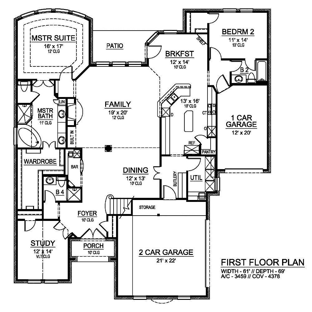 First Floor image of Featured House Plan: BHG - 6820