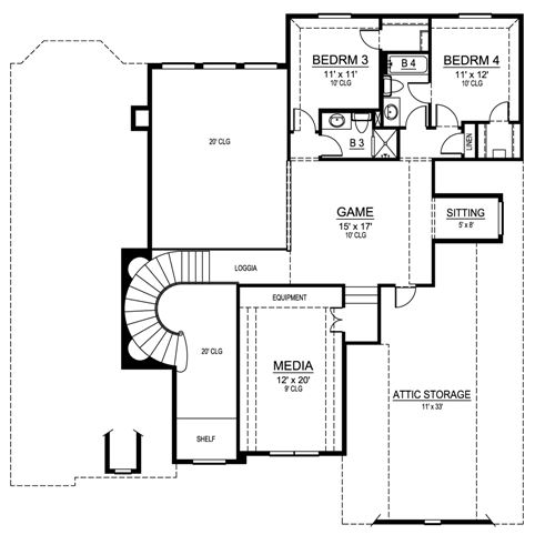 Second Floor image of Featured House Plan: BHG - 4539