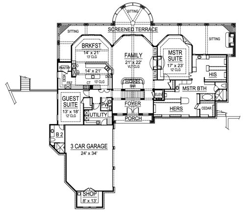 First Floor image of Featured House Plan: BHG - 4841