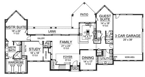 First Floor image of Featured House Plan: BHG - 4842