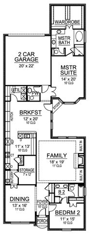 Single storey floor plans narrow lot on pinterest for Narrow lot homes single storey