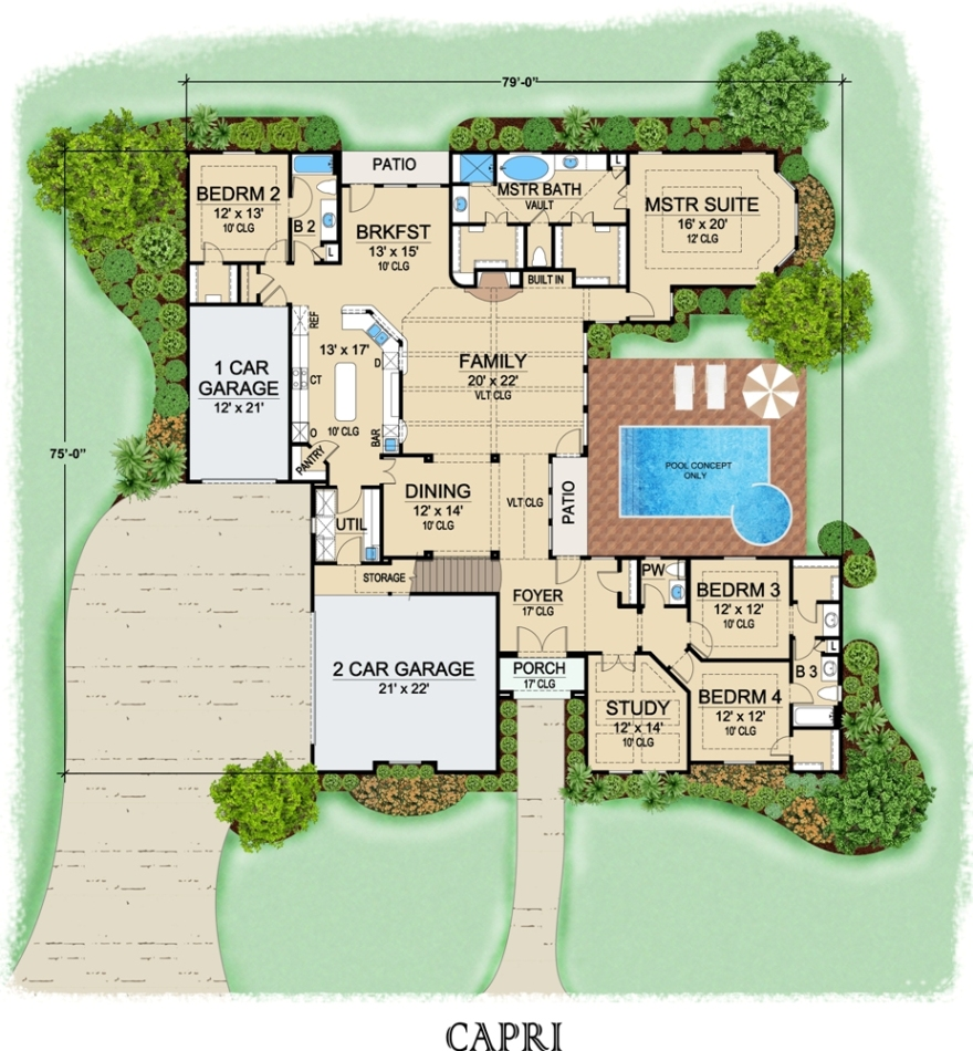 First Floor image of Featured House Plan: BHG - 6778
