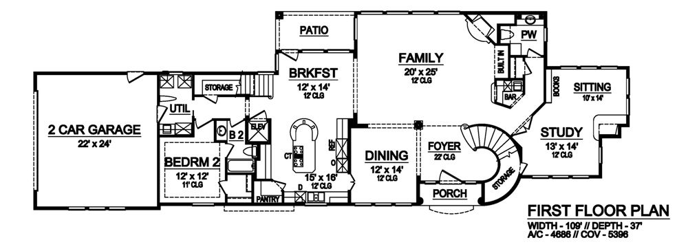 First Floor image of Featured House Plan: BHG - 6824