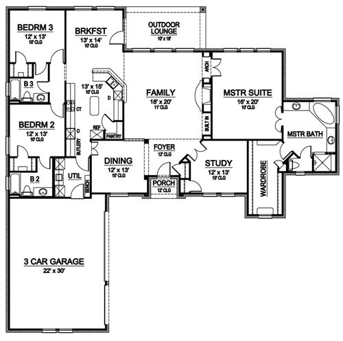 First Floor image of Featured House Plan: BHG - 4932