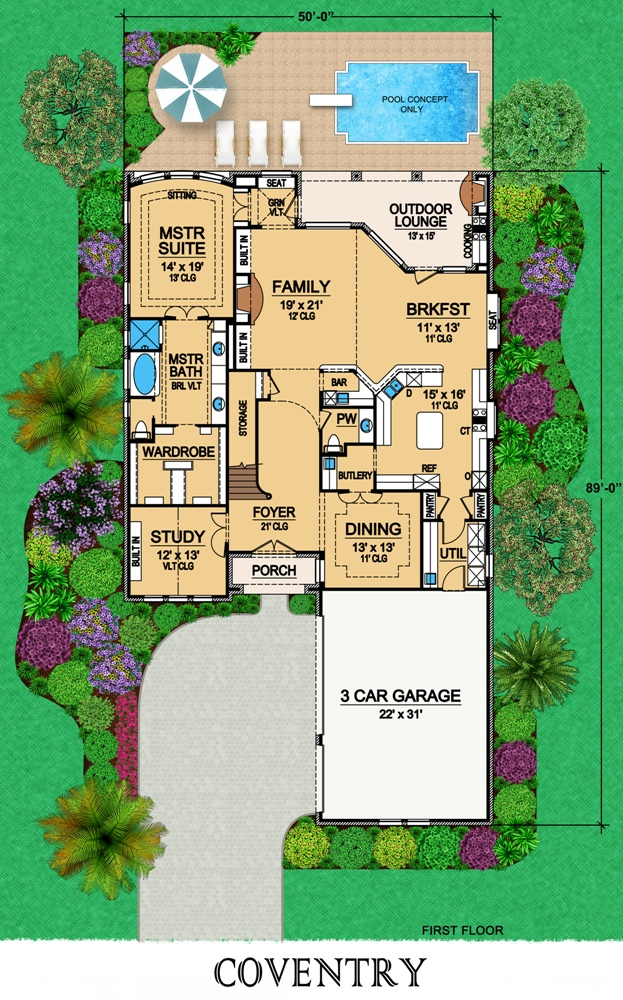 First Floor image of Featured House Plan: BHG - 6804