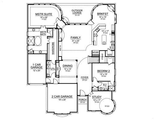 First Floor image of Featured House Plan: BHG - 5203