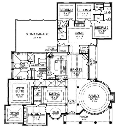 First Floor image of Featured House Plan: BHG - 4521