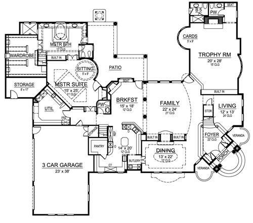 First Floor image of Featured House Plan: BHG - 4520