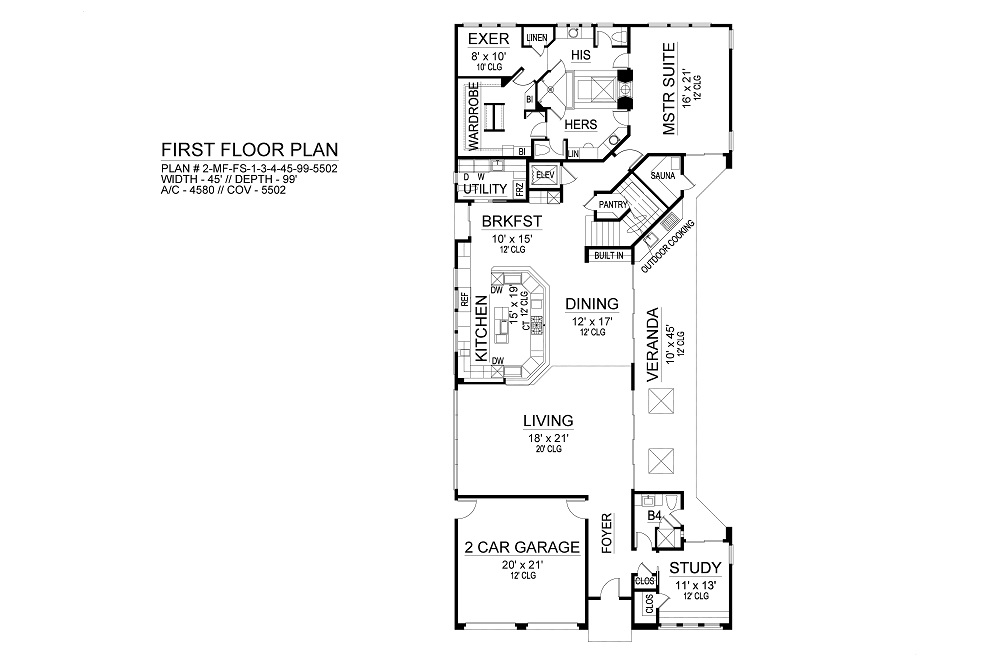 First Floor image of Featured House Plan: BHG - 9500