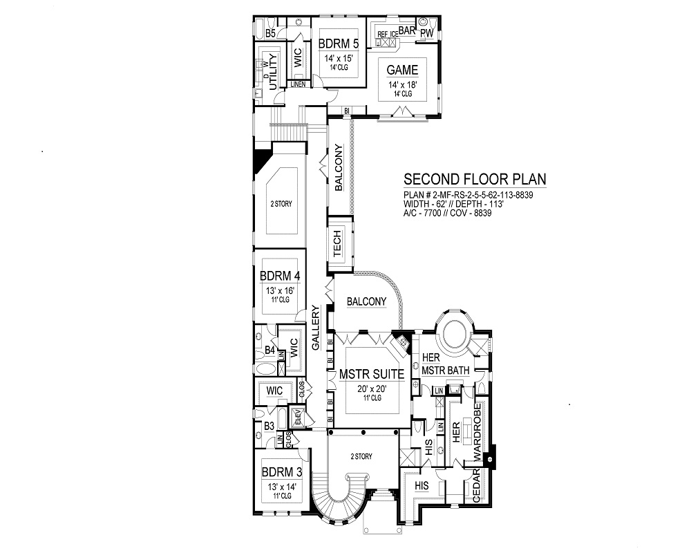 Second Floor image of Featured House Plan: BHG - 9499