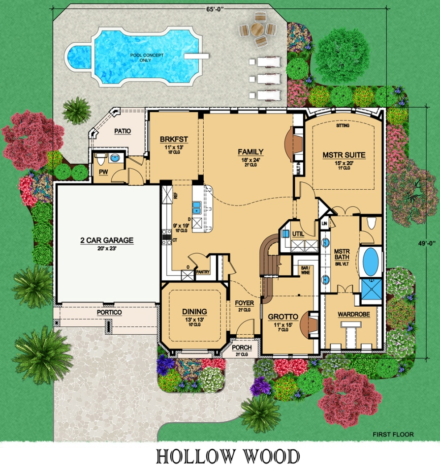 First Floor image of Featured House Plan: BHG - 6807