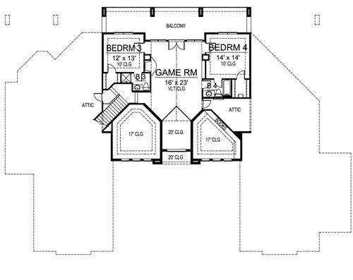 Second Floor image of Featured House Plan: BHG - 4697