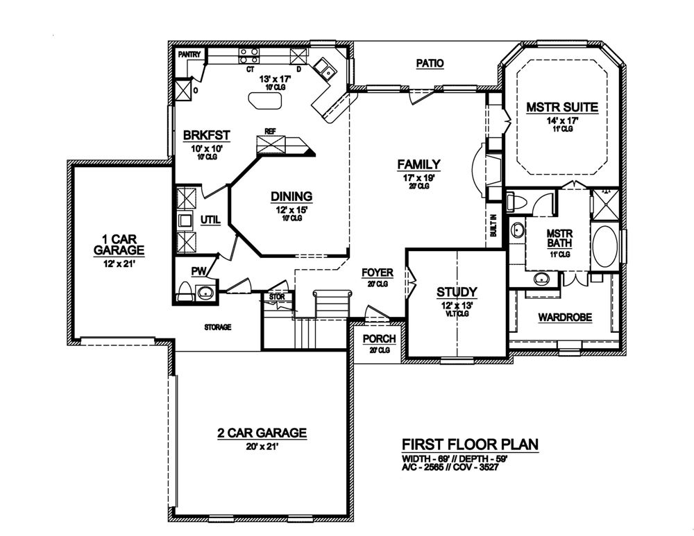 First Floor image of Featured House Plan: BHG - 6780