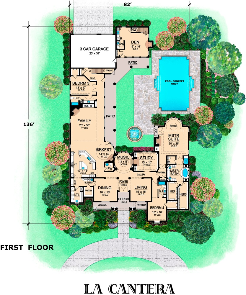 First Floor image of Featured House Plan: BHG - 6783