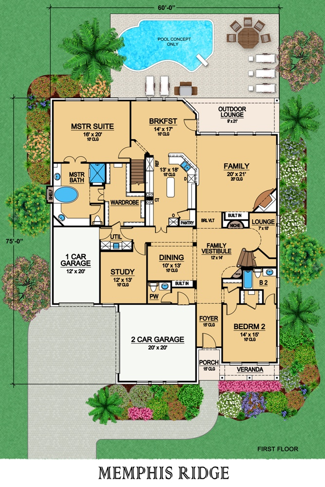 First Floor image of Featured House Plan: BHG - 6785