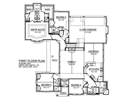 First Floor image of Featured House Plan: BHG - 5515