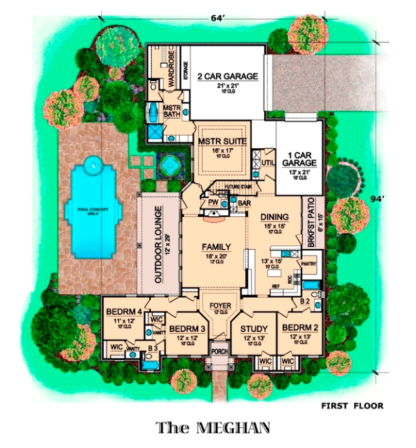 First Floor image of Featured House Plan: BHG - 6277