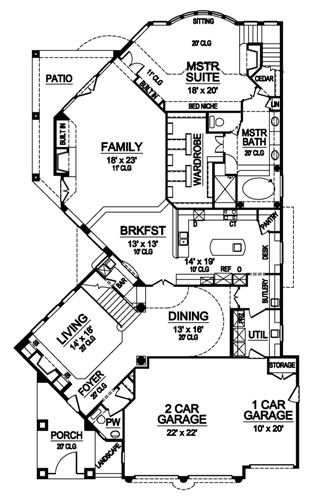 First Floor image of Featured House Plan: BHG - 4879