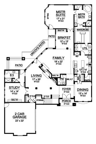 First Floor image of Featured House Plan: BHG - 4881