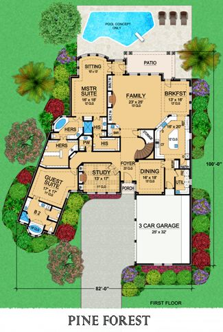 First Floor image of Featured House Plan: BHG - 5341