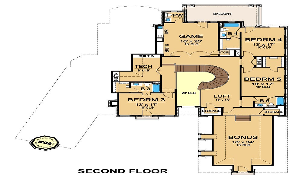 Second Floor image of Featured House Plan: BHG - 5341