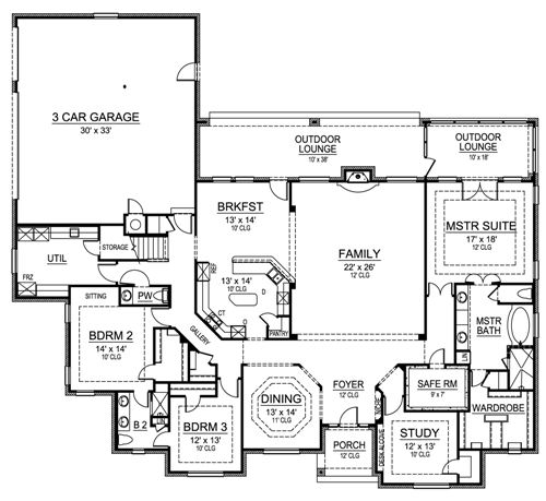 First Floor image of Featured House Plan: BHG - 4906