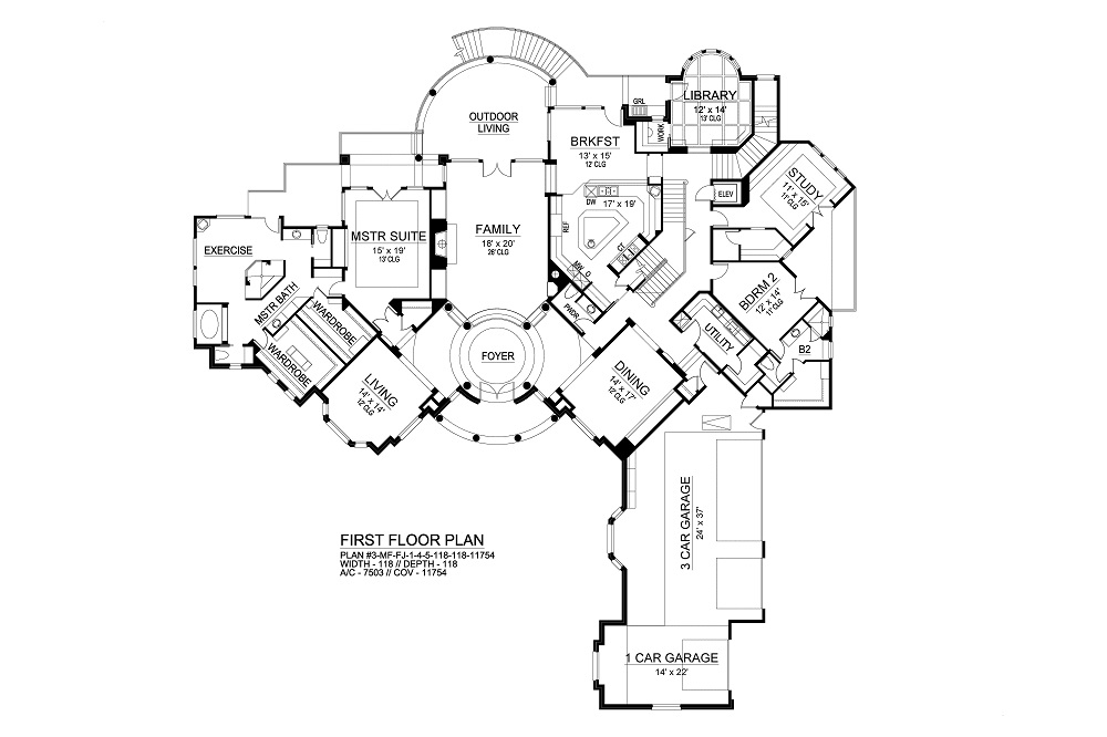 First Floor image of Featured House Plan: BHG - 9776