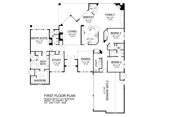 First Floor image of Featured House Plan: BHG - 9645