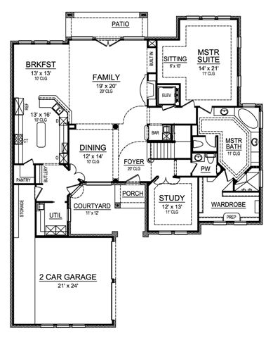 First Floor image of Featured House Plan: BHG - 4807