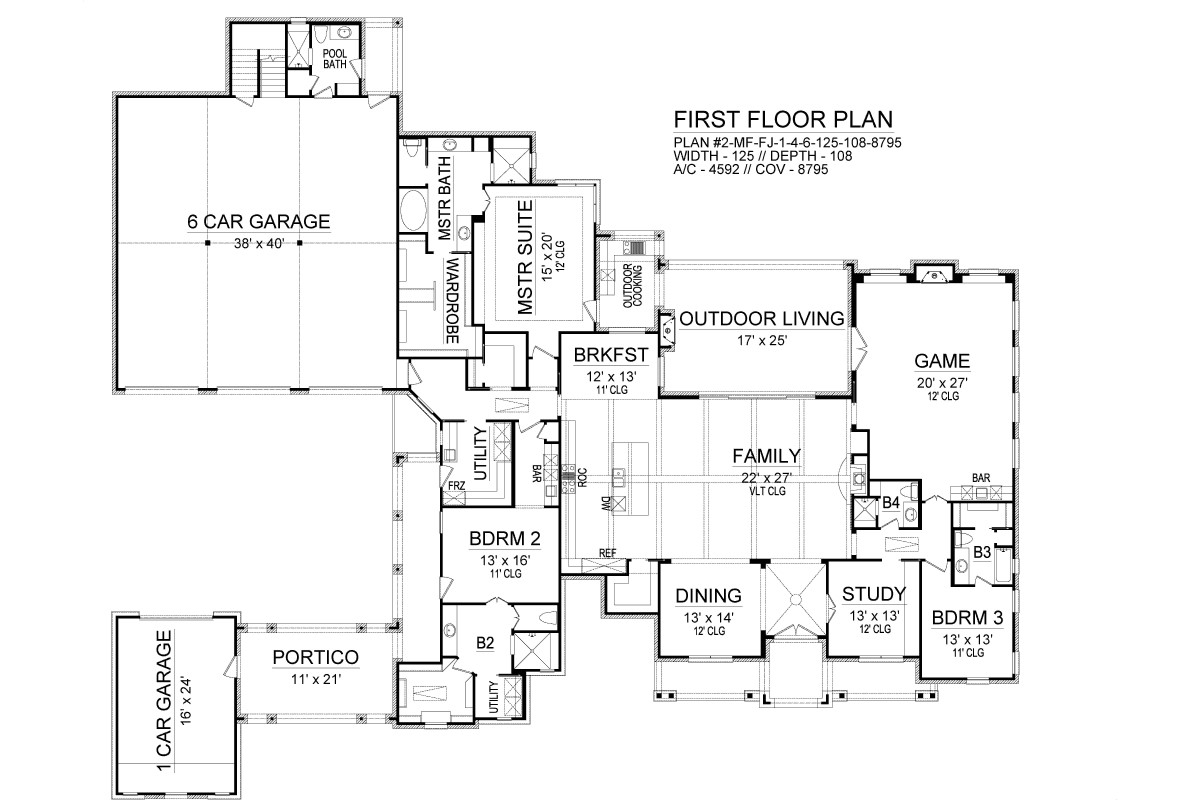 First Floor image of Featured House Plan: BHG - 6200