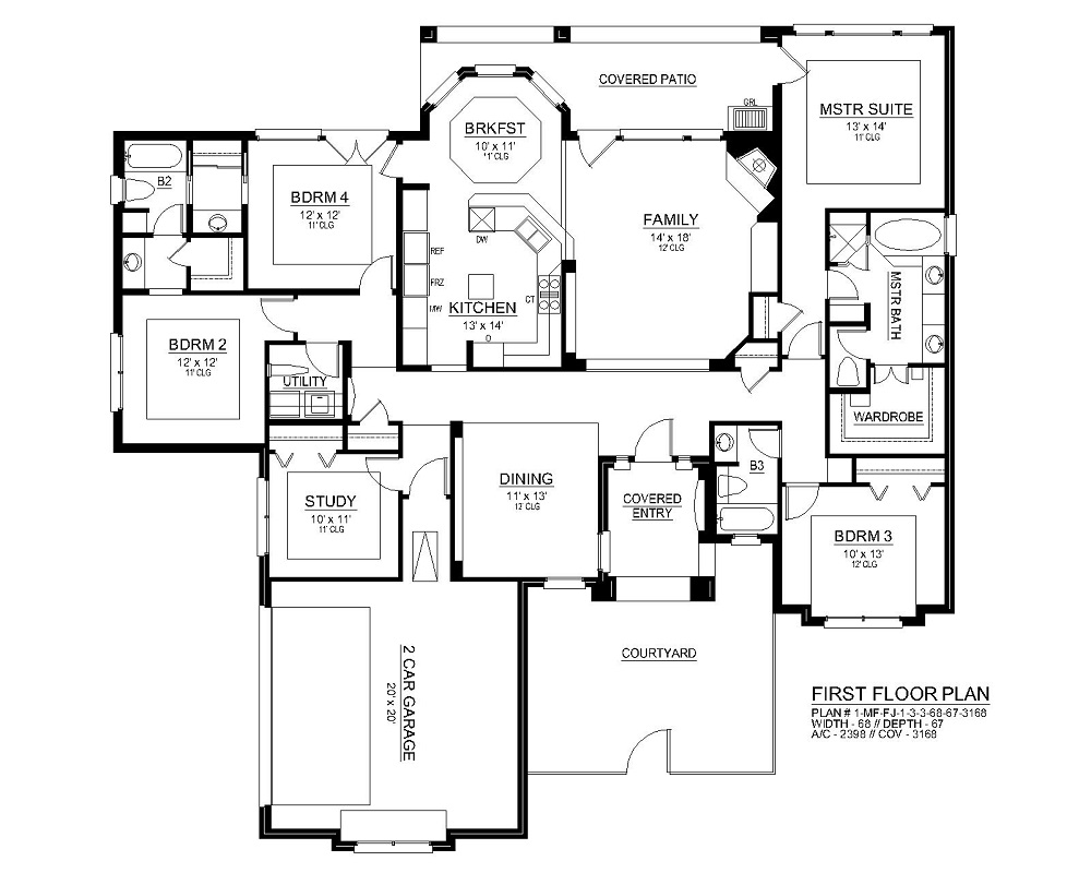 First Floor image of Featured House Plan: BHG - 3028