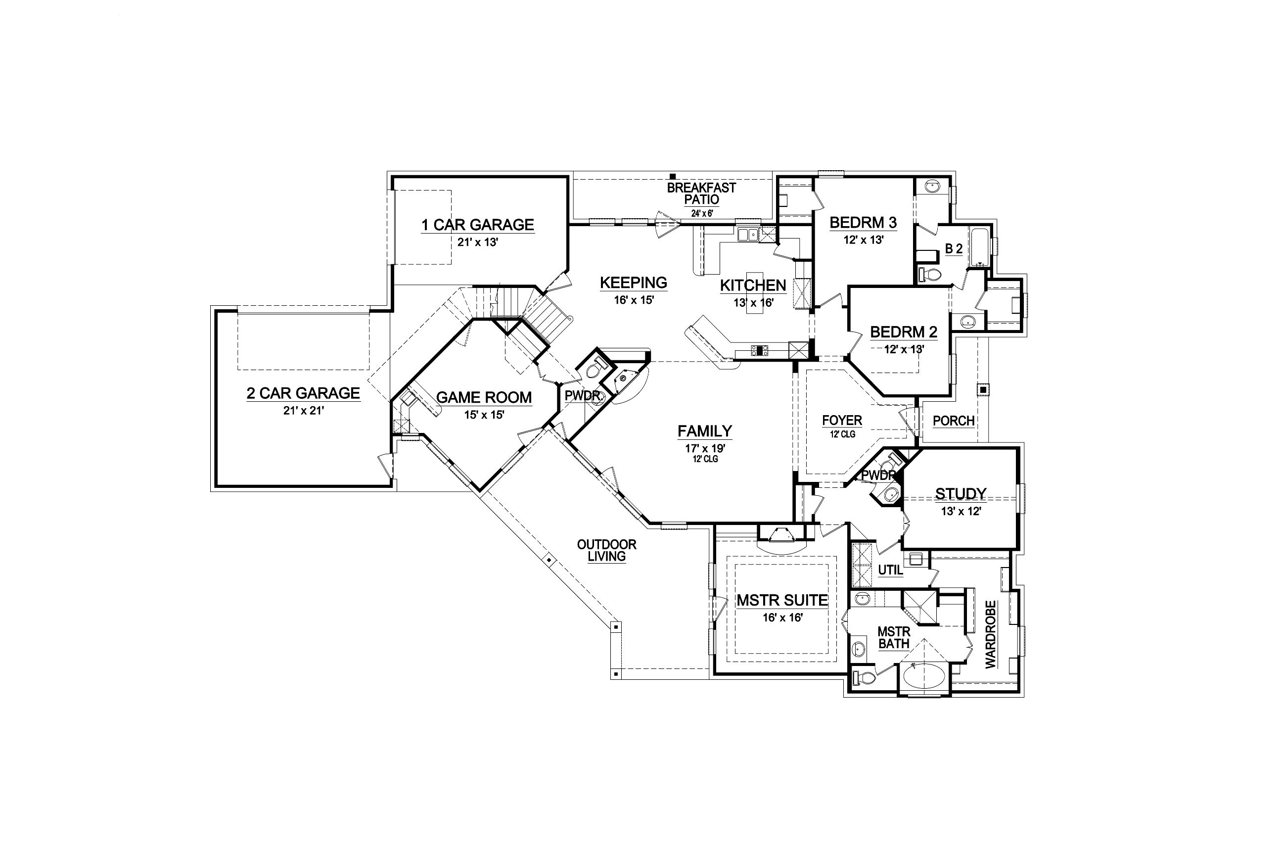 First Floor image of Featured House Plan: BHG - 6278