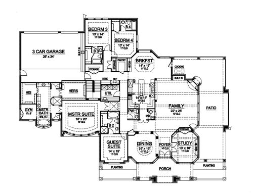 First Floor image of Featured House Plan: BHG - 4941