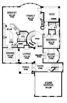 First Floor image of Featured House Plan: BHG - 5168