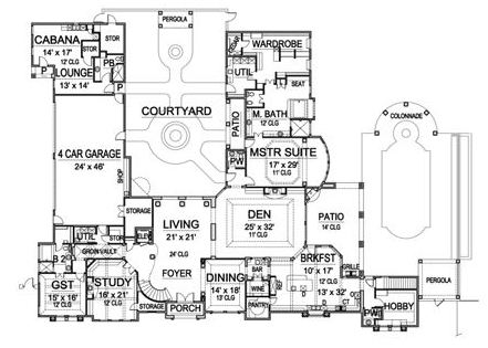 First Floor image of Featured House Plan: BHG - 5122
