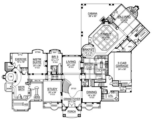 First Floor image of Featured House Plan: BHG - 4525